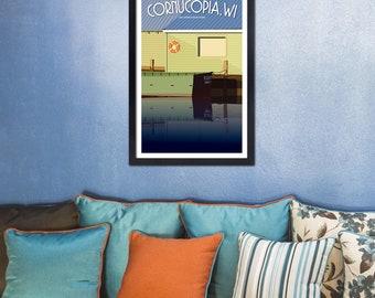Lake Superior Shore Towns Series: Art Deco Cornucopia, WI Print