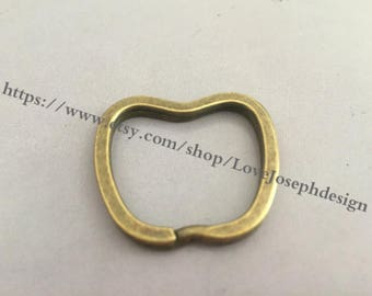 10 Pieces /Lot Antique bronze Plated 32mmx30mm Apple double Split key ring (#0174)
