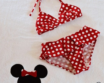 Red and White polka dot swim suit sizes 12m to 8