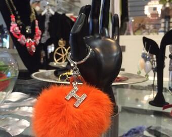 Faux Pom Pom Keychains, Handbag Charm, Orange, Pom Pom Keychain, Key Ring, Keychain, Fur Pom Pom, Lobster Clasp, Rhinestone Alphabet Charm