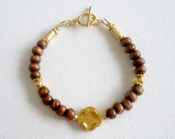 Brown Bracelet - Wood Jewelry - Quatrefoil Jewellery - Yellow Gold - Earth Tones - Beaded - Earthy - Natural B-317