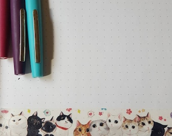 Wide Cartoon Cat Faces 30 in Washi Tape Sample