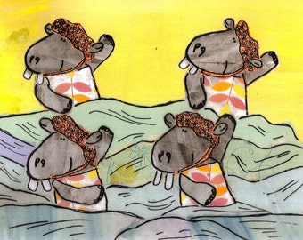 Synchronized swimming hippos