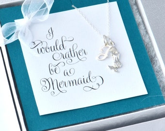 Mermaid Necklace w/ gift box, Mermaid Charm Necklace, Best Friend Gift, Personalized Necklace, Mermaid Jewelry, Gift For Her