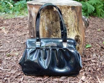 Vintage Shiny Black Purse / Handbag