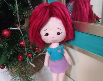 Fabric doll + cloth doll + Handmade art doll + Felt plush rag doll