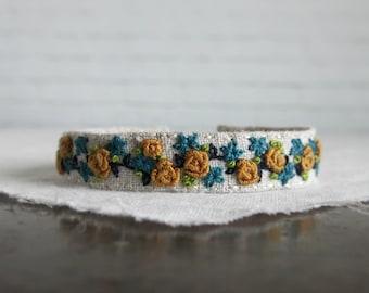 Yellow Rose Bracelet, Mustard Teal Flowers, Embroidered Bracelet, Flower Cuff Bracelet, Floral Cuff Bracelet