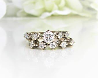 Vintage Transitional Cut Diamond Engagement Ring Set 0.61ctw Diamond Wedding Ring Set 18K White Gold Vintage Raised Setting Bridal Set
