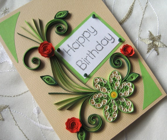 Happy birthday card handmade quilling card red roses m4hsunfo