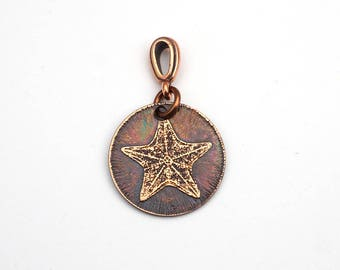 Small starfish pendant, round etched jewelry, optional necklace, 22mm
