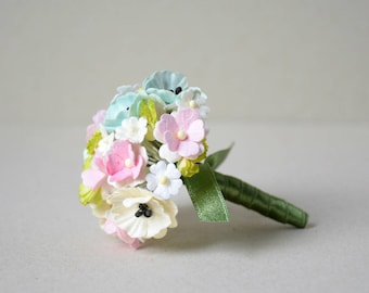 Mini  Flower Bouquet  / Mixed  Sweet Pastel  Mini  Paper Flowers