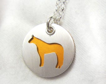 Horse Pendant Sterling Silver Necklace and Pendant ORANGE, Ready to Ship, Horse Lover, Animal Themed Jewelry, Equestrian gifts for her