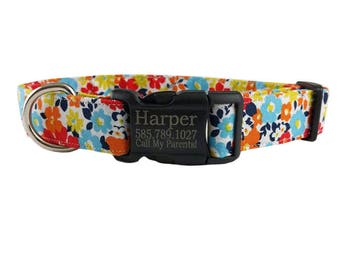 Colorful Floral Spring/Summer Personalized Laser Marked Black Plastic Buckle Dog Collar -  *2-3 Week Ship Time*