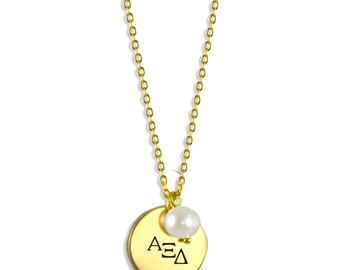 Alpha Xi Delta Pearl Sorority Necklace / Alpha Xi Delta Necklace / Sorority Necklace / Sorority Gift / Big Little Gift / Sorority Jewelry