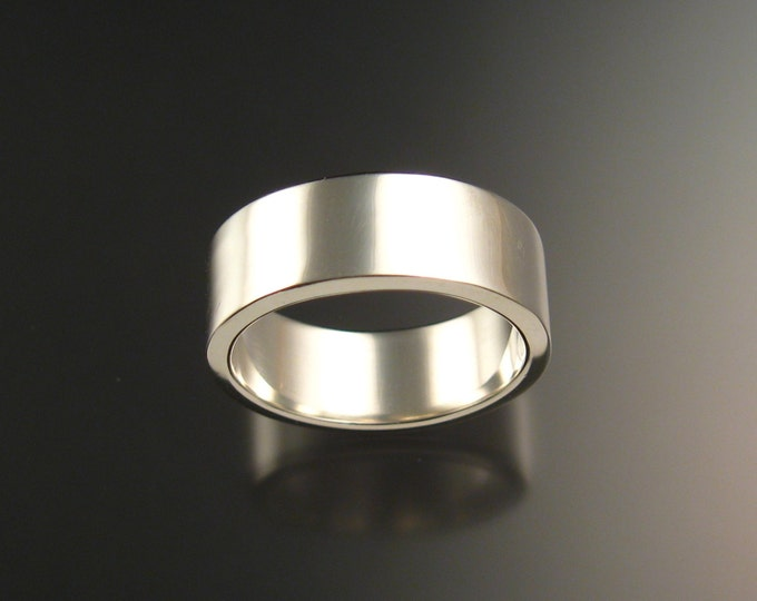 Sterling Silver polished finish 2mm x 8mm Rectangular Wedding band made to order in your Size wide silver Ring