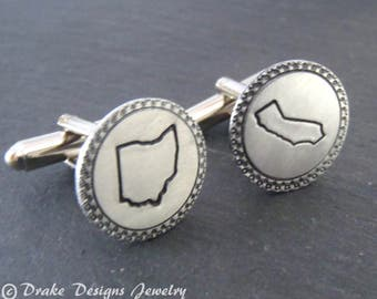 personalized state cuff links / mens gift / custom cufflinks / travel gifts