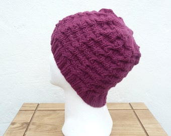 Knitting PATTERN HAT BEANIE - Claret Wavy Cable Hat Instant Download
