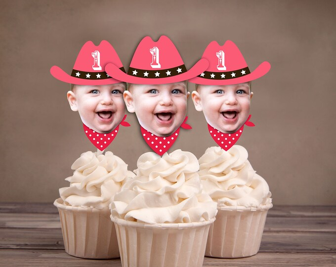 Photo Cupcake Toppers (Birthday Hat Design) Digital File - circus, carnival, under the big top, first birthday, 1st, western, cowboy,indians
