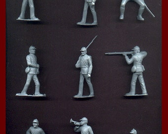 MARX Toy Soldiers 12 Civil War Union Toy Soldiers - Reissued Gray Plastic Toy Soldiers - Mint