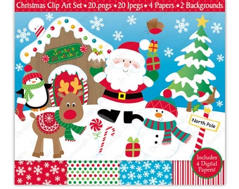 Christmas Clipart,Christmas Digital Papers,Christmas Clip Art,Santa Clipart,Holiday Clipart,Reindeer Clipart,Snowman,Commercial Use (C4)