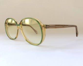 80s Vintage German Köln Optik Geekery Green Round NOS Sunglasses