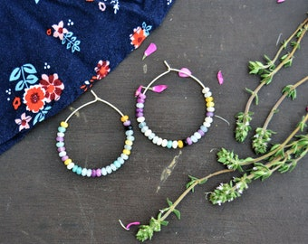 Beaded hoop earrings Gemstone beads Rainbow earrings Bohemian jewelry Sterling silver hoop earrings Boho style Statement earrings Jasper