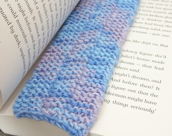 Purple and Blue Knitted Cat Bookmark