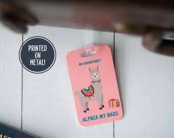 Travel Gifts for Sister - Cute Llama Gift - Luggage Tag - Alpaca - Long Distance Gift - Pun - Travel Gifts for Mom - Funny Llama Gift