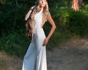 Organic Cotton Spandex Jumpsuit, The Naomi, Halter Backless Jumpsuit
