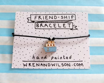 Handmade blue Friendship bracelet - Mothers day. playful hand painted laser cut jewellery. Best friend gift, fun and cute. FREE UK SHIPPING!