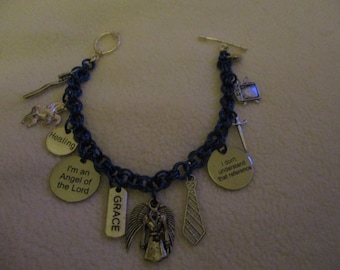 Supernatural inspired Castiel 'Blue Eyes' Charm Bracelet