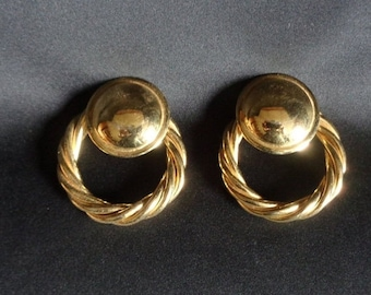 May Sale Event Vintage Rope Gold Tone Hoop Clip On Earrings.