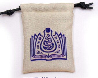 Wizard Fantasy RPG Mini Drawstring Dice Pouch, Colour Symbol