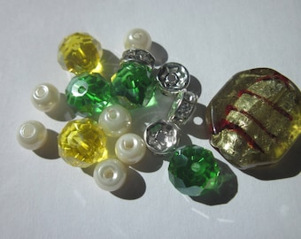 18 glasses and 6-20 mm (BA22) rhinestone rondelle spacer beads