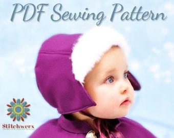 FROZEN Anna Bonnet Sewing Pattern, Hat PDF Pattern, Girls Hat Pattern, Womens Hat Pattern, Vintage Bonnet, Fur Brim Hat Pattern