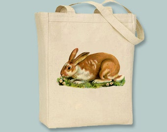 Vintage Brown and White Spotted Bunny Rabbit Natural or Black Canvas Tote -- Selection of sizes available