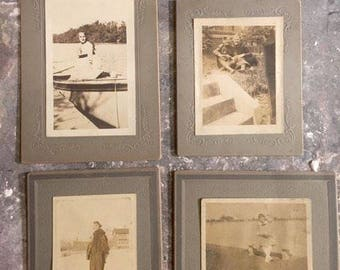 Lot of 4 Antique photos 1917 writing on the back