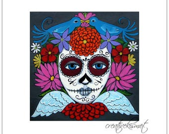 Day of the Dead Calavera - 8 X 8 Art Print