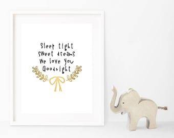 Sweet Dreams Typography Nursery Wall Art Gold Foil Print, Baby Child's Bedroom Nursery Quote Illustration Decor, Baby Shower, Newborn Gift