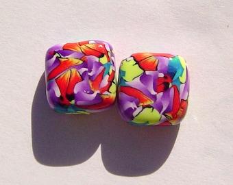 Carnival Square Handmade Artisan Polymer Clay Bead Pair