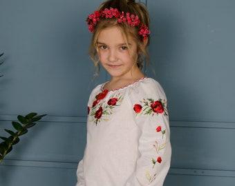 Linen Embroidered blouse.  Ukrainian Vyshyvanka  for girls