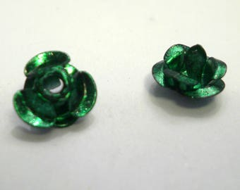 50 small aluminium 6 mm bright green flower beads