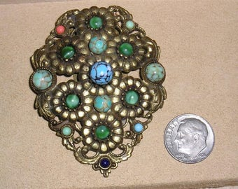 Vintage All Glass Faux Turquoise Dress Clip With Green Moonstones Solid Brass Alloy 1930's Jewelry 11118
