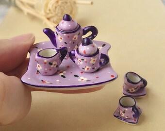 Miniature Tea Set,Miniature Coffee Set,Miniature Drink,Dollhouse Tea set, Miniature Tea Pot,Miniature Coffee,Tea Set,Coffee Set
