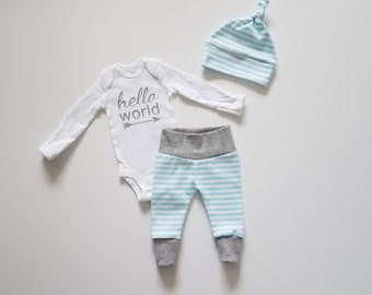 Baby Boy Coming Home Outfit. Bring Home Outfit Gift Set. Simple Stripes. Leggings. Top Knot Hat. Hello World Onesie. Coming Home Baby Boy.