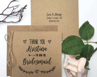 Personalised Thank You Bridesmaid Card | Wedding Thank You Card | Rustic Cards | Best Man | Usher | Wedding Card | Evie Range