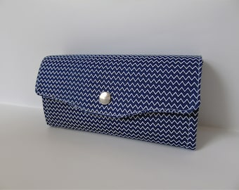 Navy blue chevron clutch wallet, clutch bag, purse, womens purse, ladies wallet.
