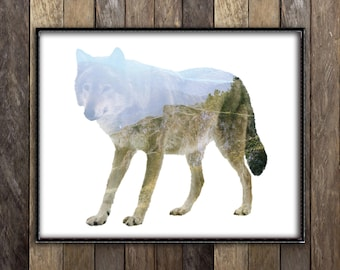 Wolf Print - Woodland Forest Animal Poster - Double Exposure Art - Rustic Mountains Scandinavian Nature Photography - Cabin Canadian Seller