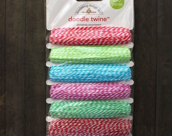 Doodlebug Design Doodle Twine Christmas Assortment Pack  (Red, Green, Blue, Purple) Bakers Twine