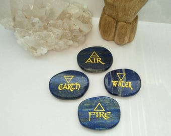 Set of 4 Element Lapis Lazuli Palm Stones / Crystals / Gemstones / Earth Air Fire Water